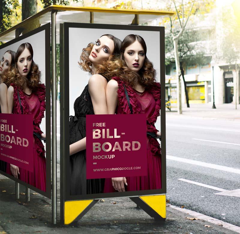 Free Bus Stop Advertisement Billboard Mockup