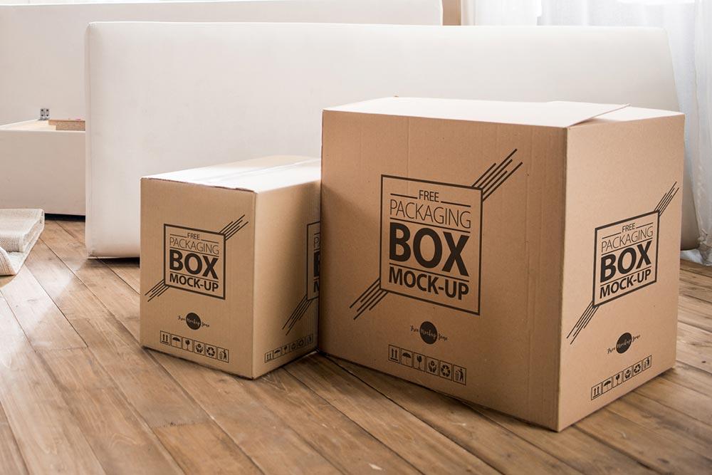 Free Box Mockup on Wooden Floor