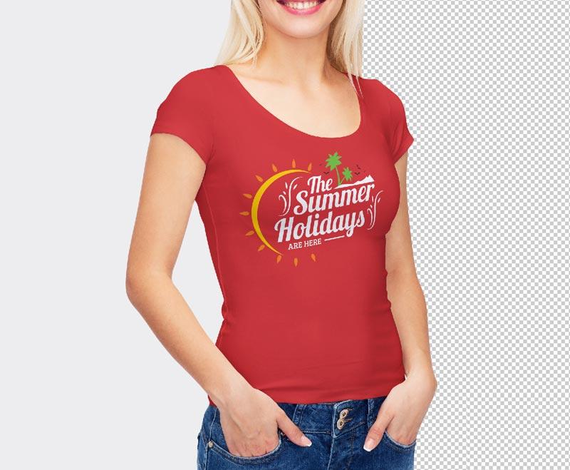 Free Smart Girl Wearing T-Shirt Mockup