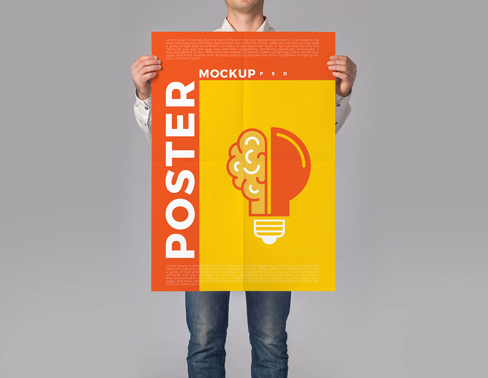 Free Man Holding Poster PSD Mockup | Mockuptree