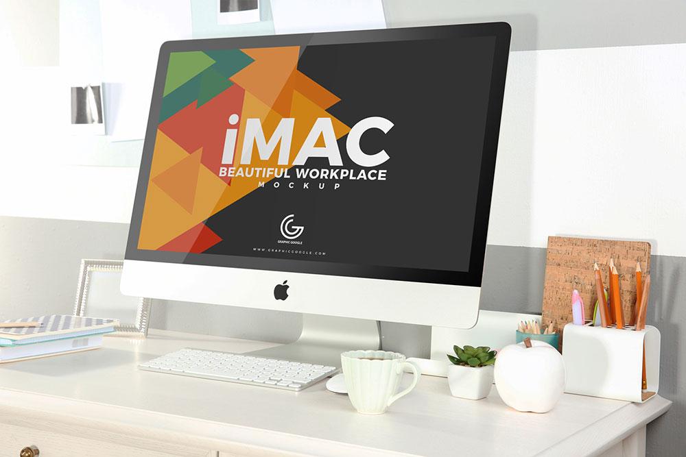 Free Workplace iMac Mockup