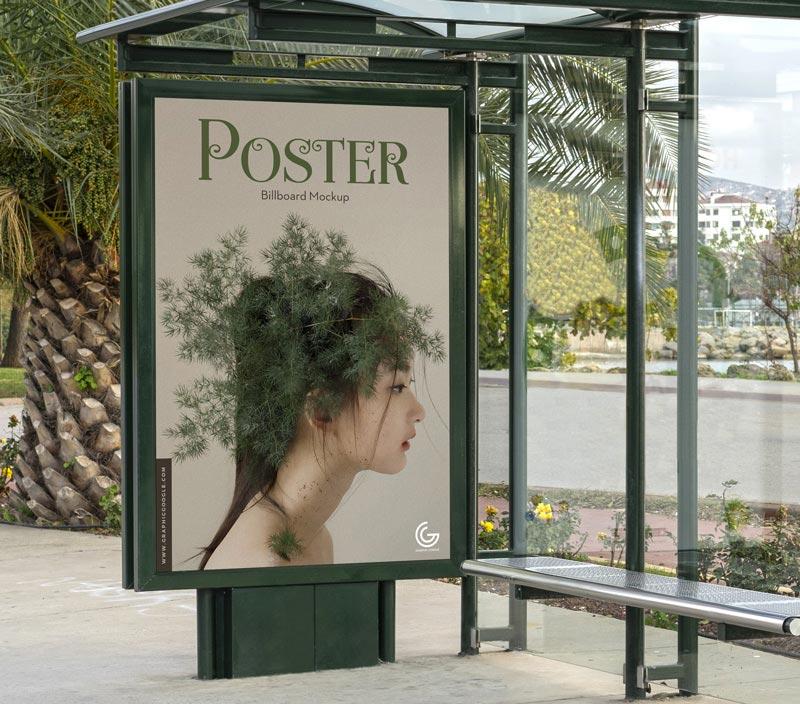 Free Bus Stop Poster Billboard Mockup