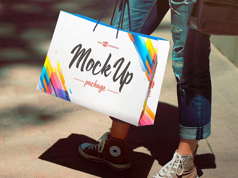 Free Package Bag Mockup