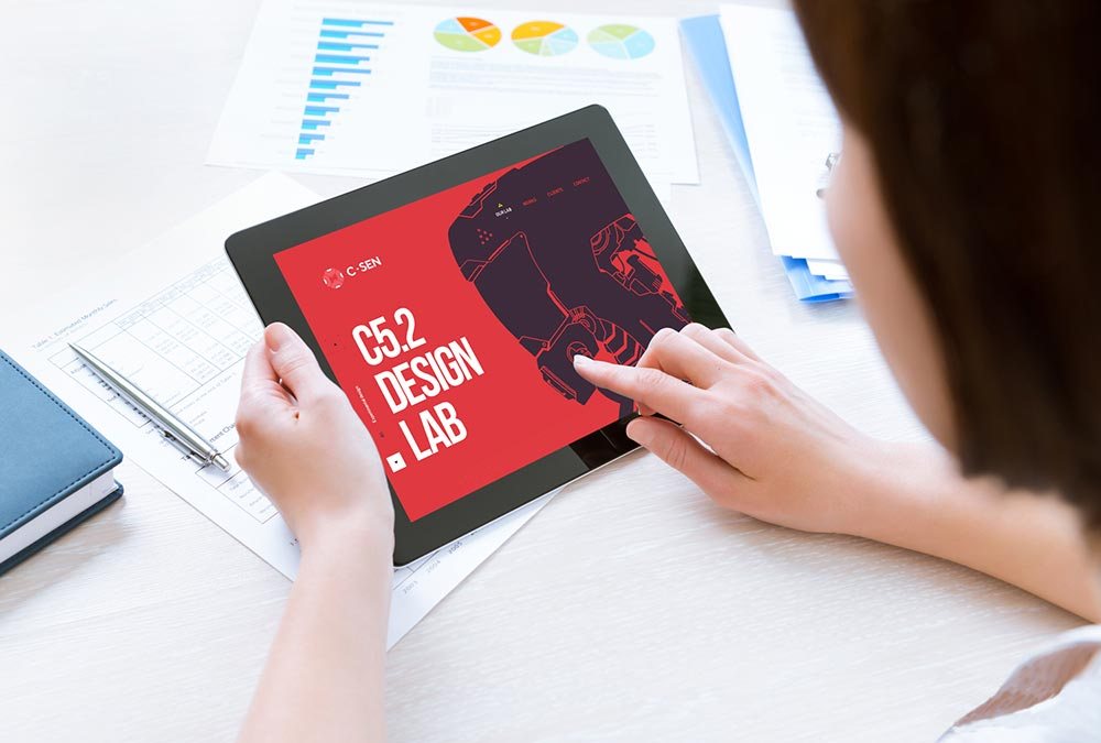 Free Woman Holding Tablet Mockup