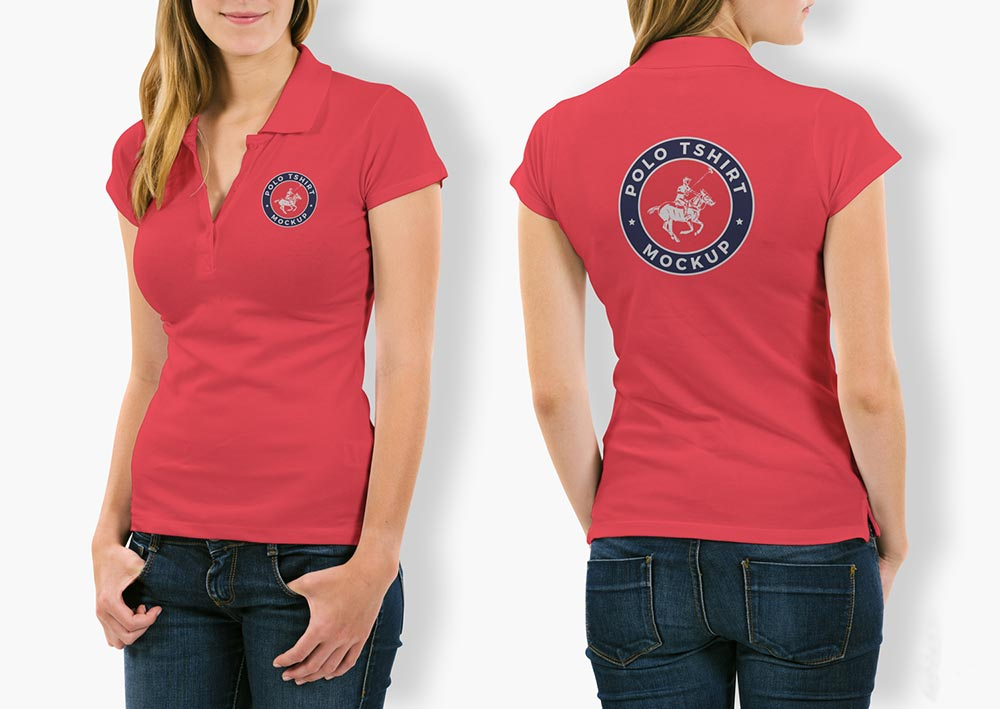 Free Woman Polo T-Shirt Mockup