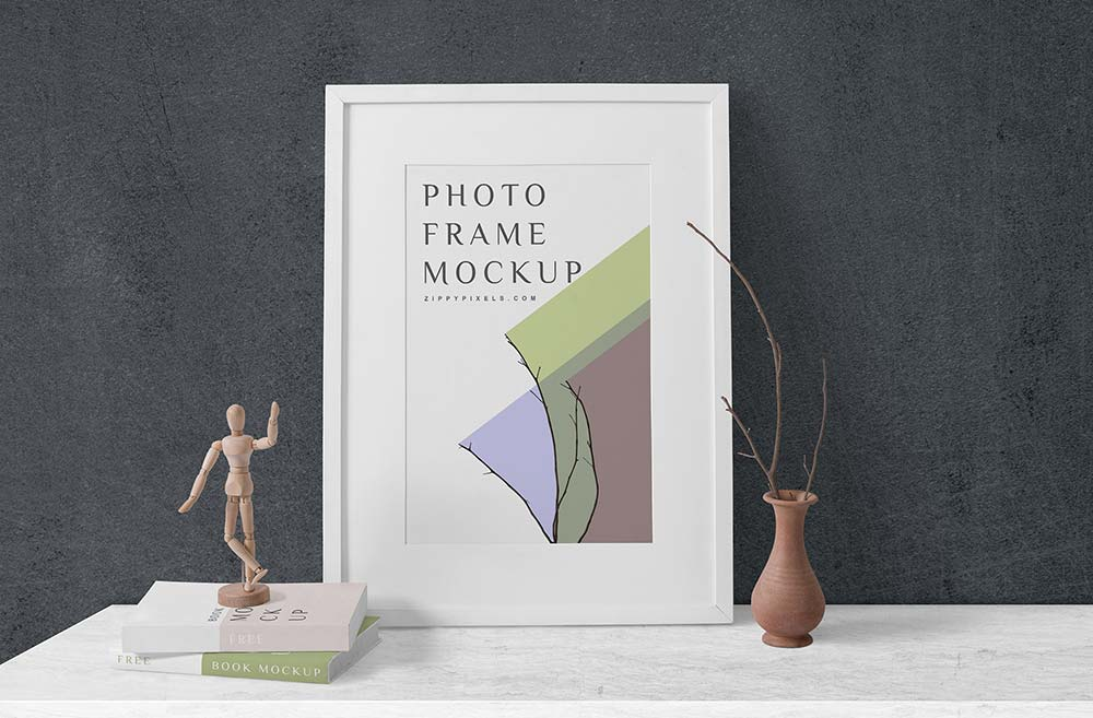 Free Wood Artwork Frame Mockup