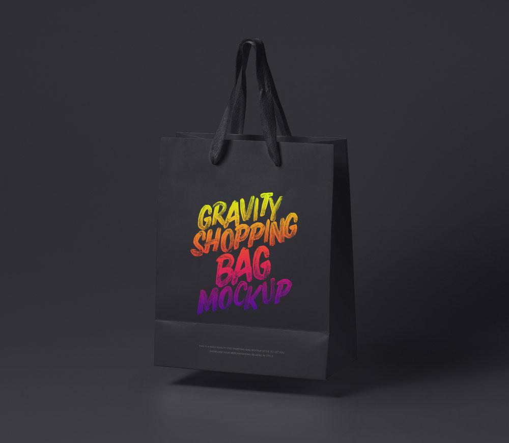 Free Gravity Shopping Bag Mockup