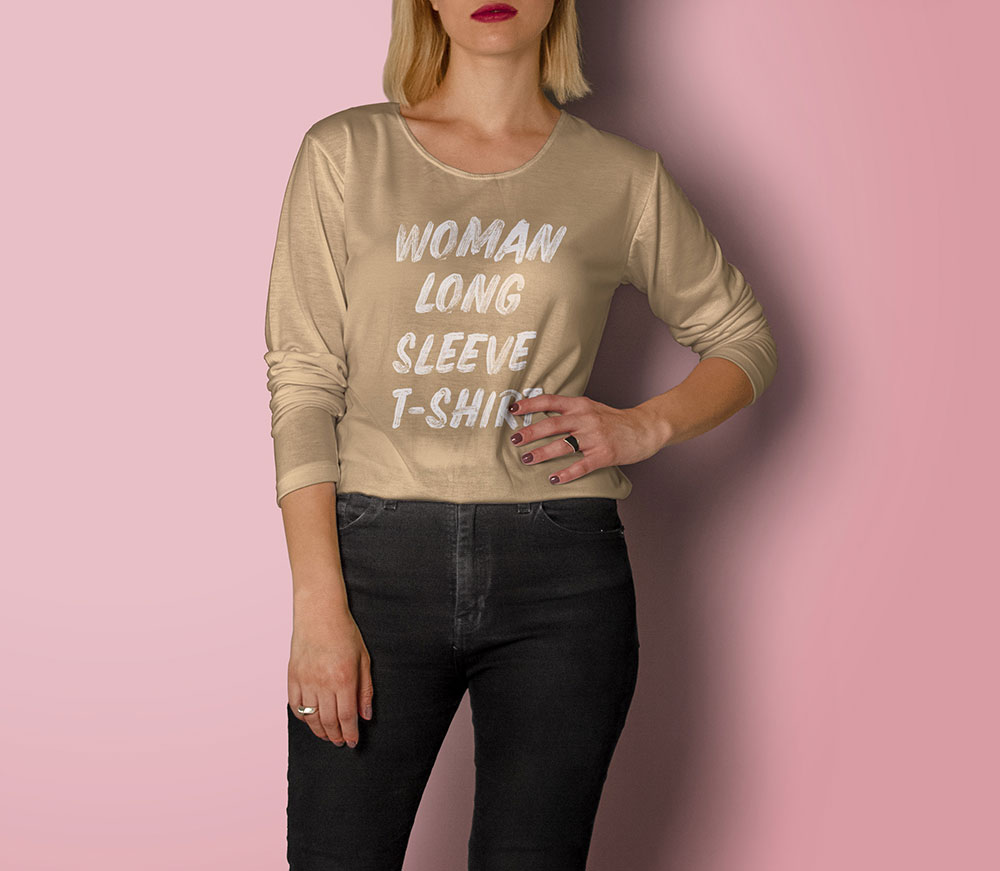 Free Woman Long Sleeve T-Shirt Mockup
