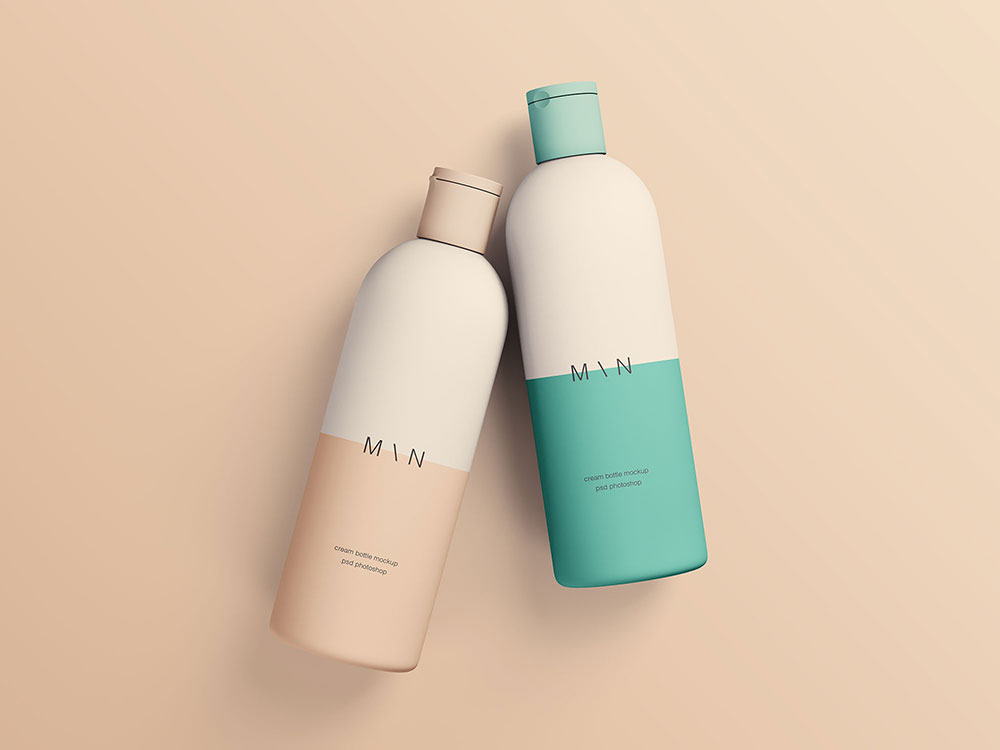Free Two Cosmetic Bottles Mockup