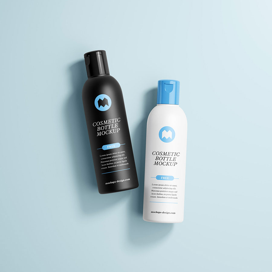 Free Brand Cosmetic Bottles Mockup