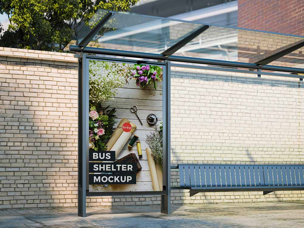 Free Outdoor Advertisement Bus Shelter Mockup