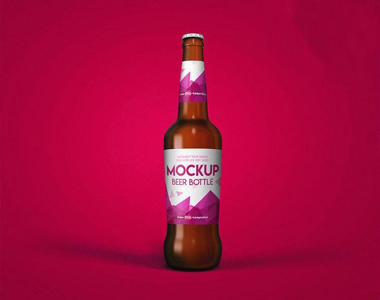 Free New Beer Bottle Mockup