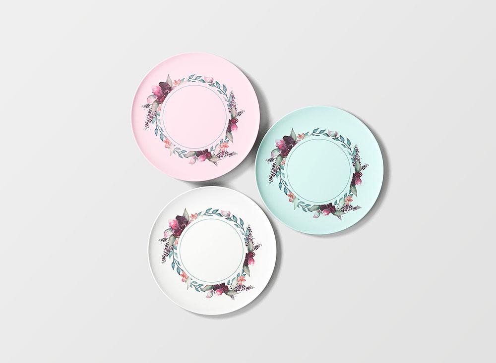 Free Three Plates mockup