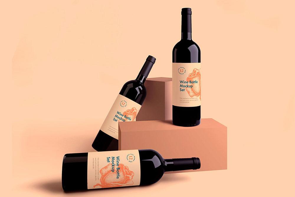 Free Wine Bottle Mockup Set