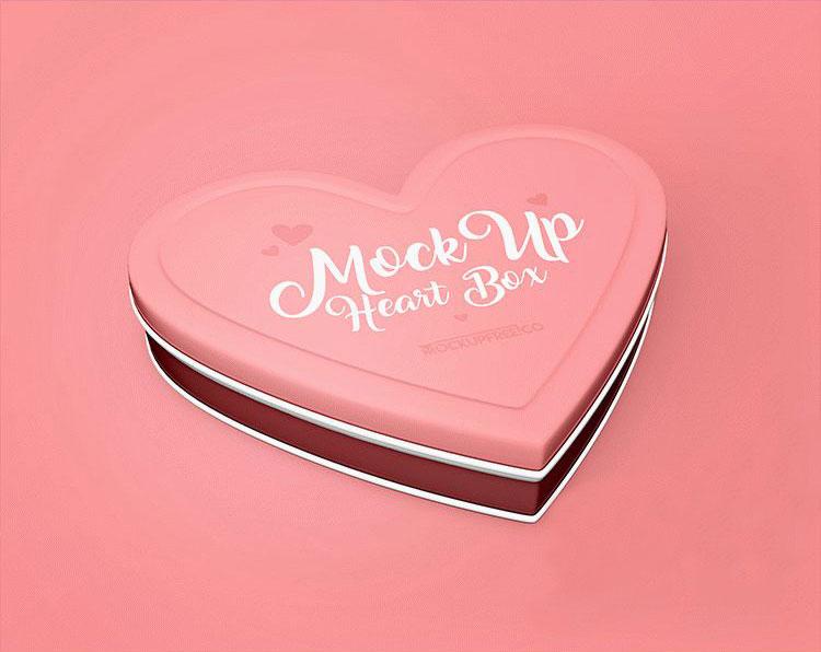Free Heart Box Mockup