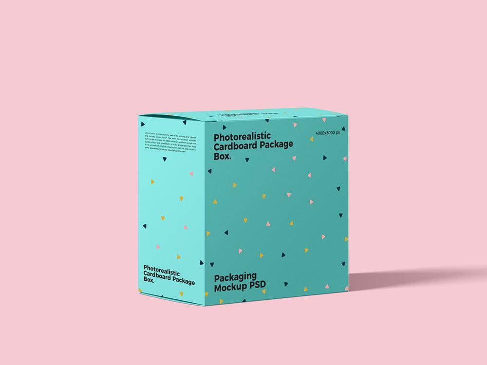 Free Cardboard Package Box Mockup