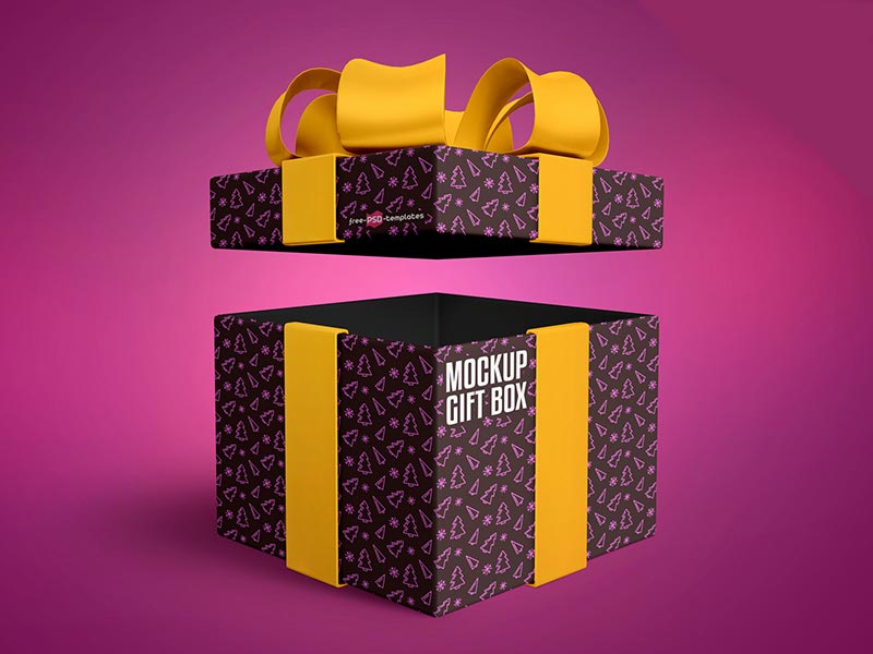 Free Gift Box Mockup in PSD