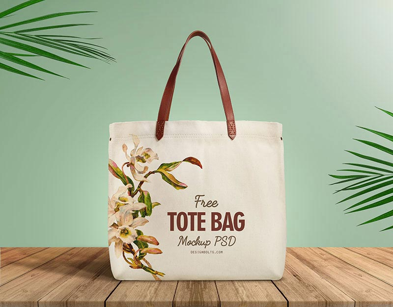 Free Organic Cotton Tote Shopping Bag Mockup PSD
