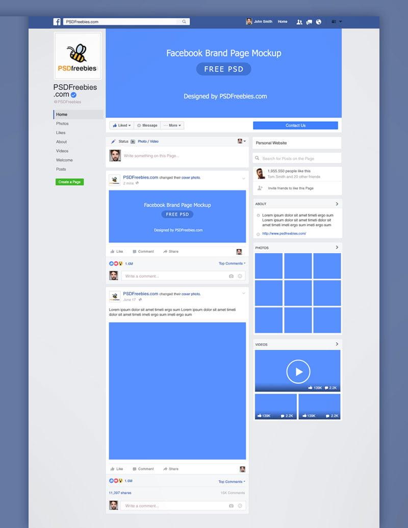 15 Free Facebook Page Mockup Psd Templates Mockuptree