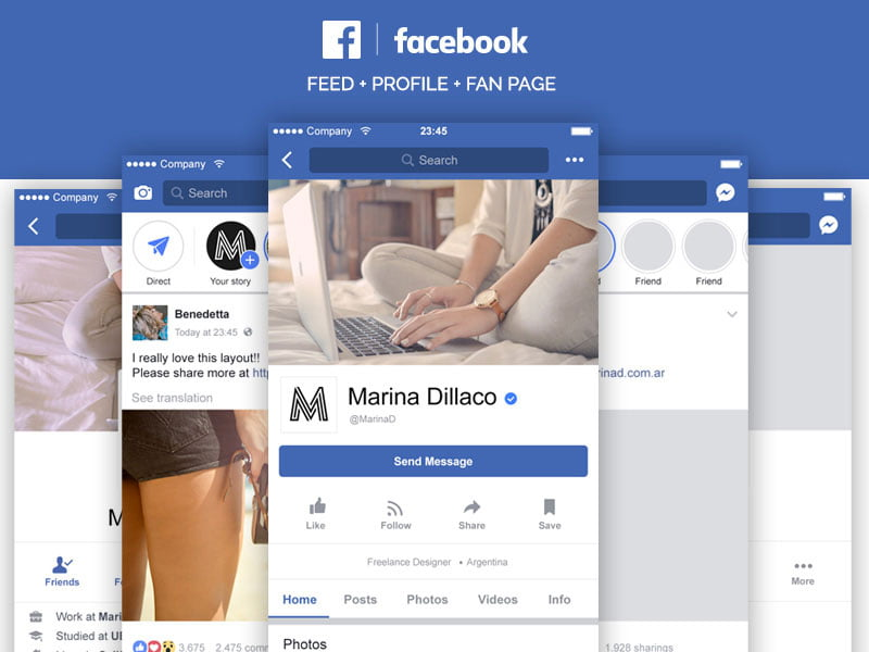 Free Facebook Mobile Layout PSD