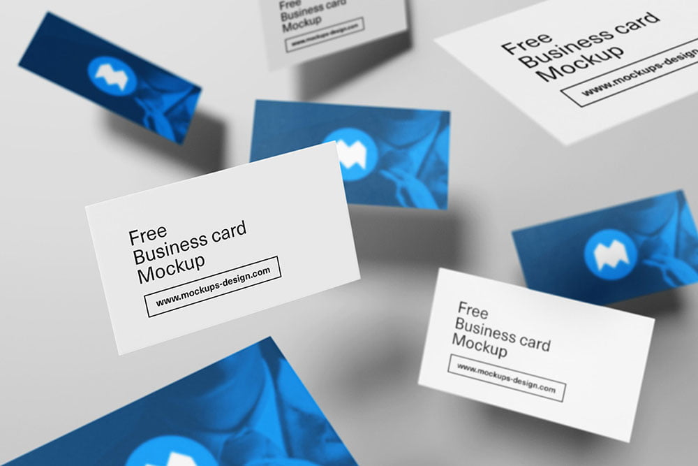 Free Flying Style Business Card Mockup
