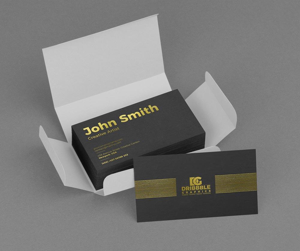 Golden Foil Business Card Mockup Psd