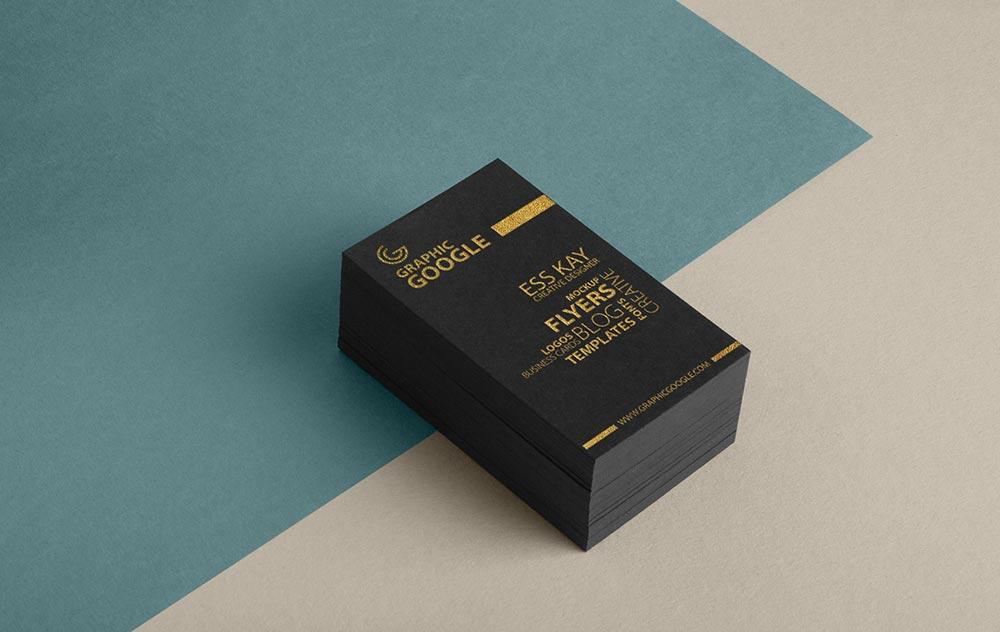 Free Golden Foil Business Card Mockup