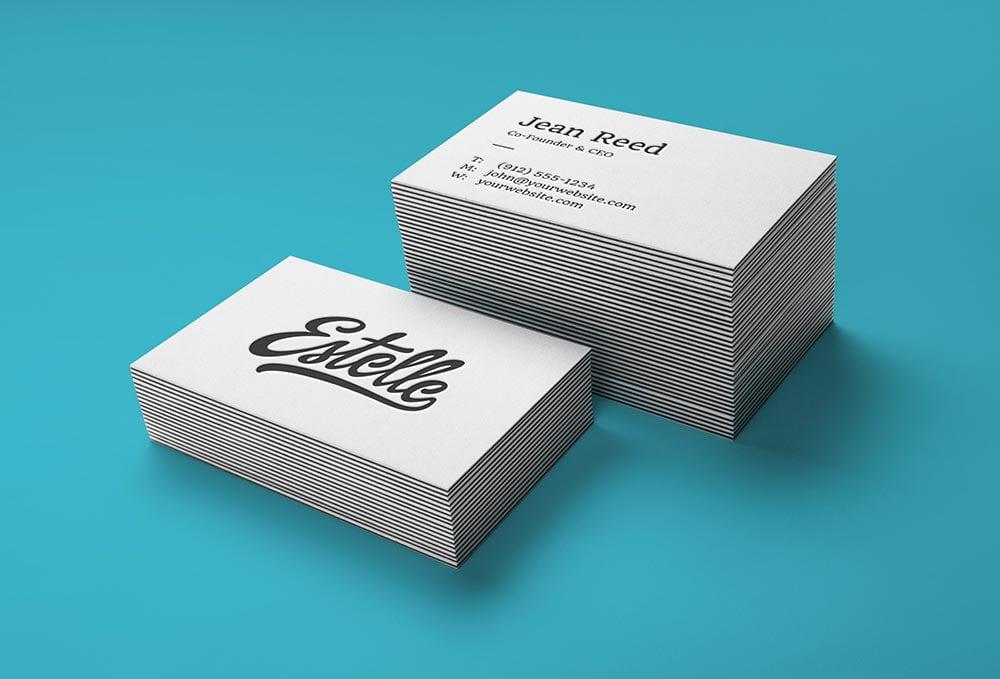 free stack letterpress business card mockup  mockuptree