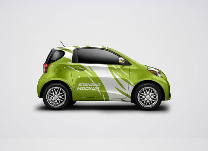 Free Electric Car Mockup