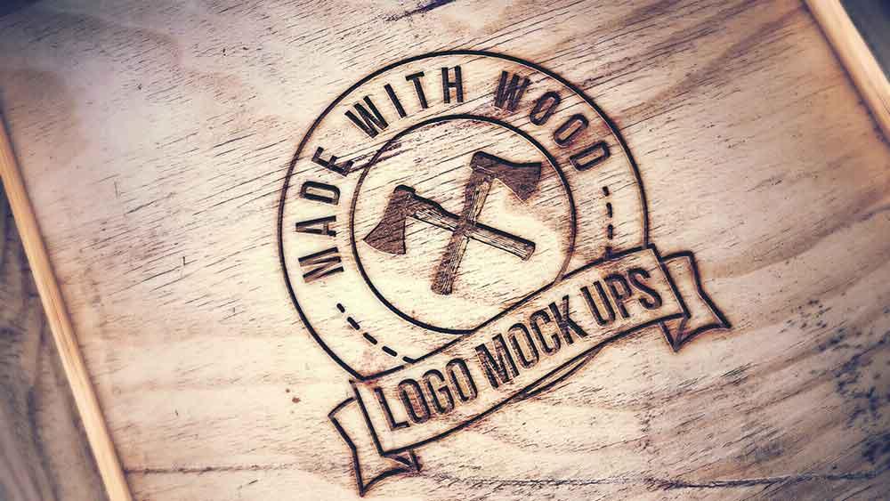 Free Engraved Wood Mockup