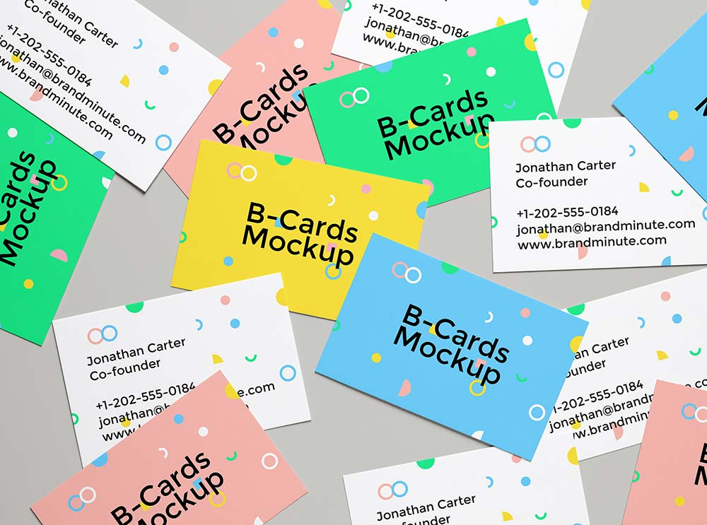Free Realistic Business Cards Mockup