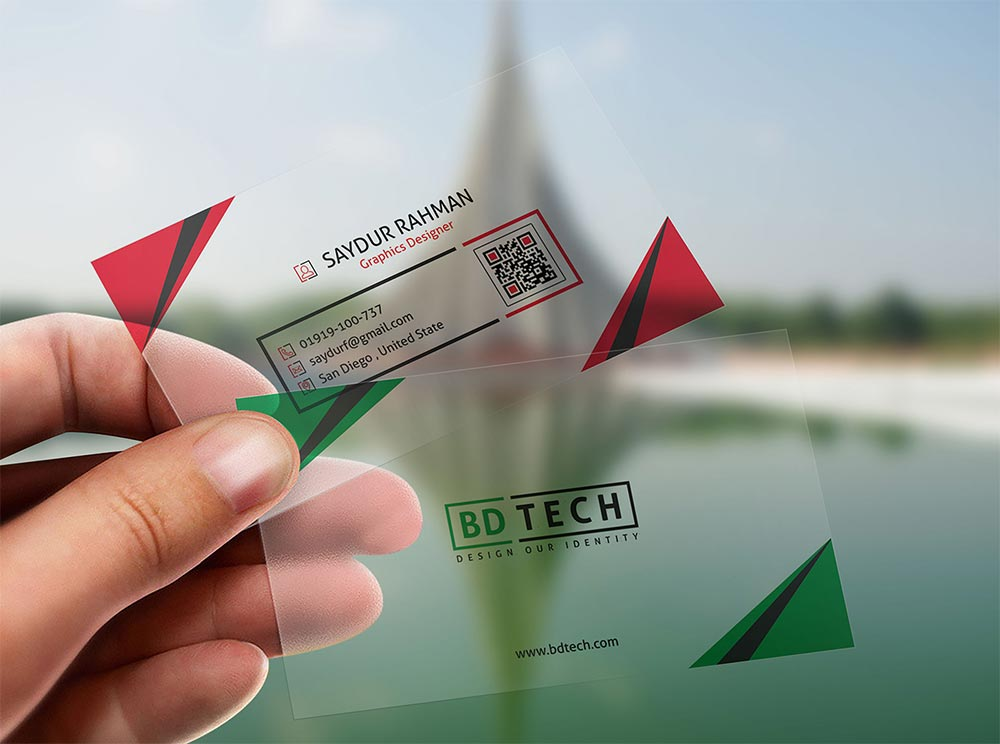 Free Translucent Business Card Mockup