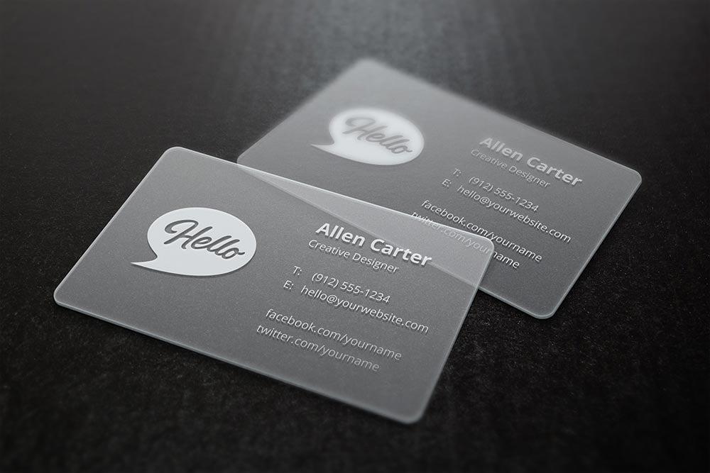 Free Translucent Business Card Mockup