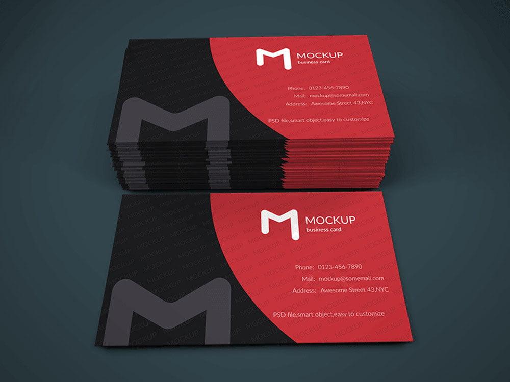Free Modern Business Card Mock-Up