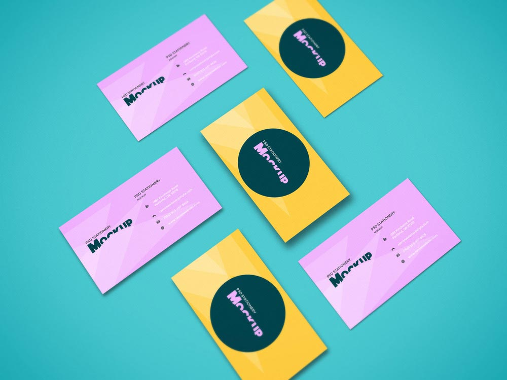 Free Perspective Business Card Mockup