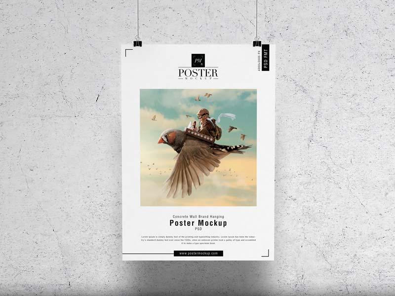 Free Brand Hanging Poster Mockup