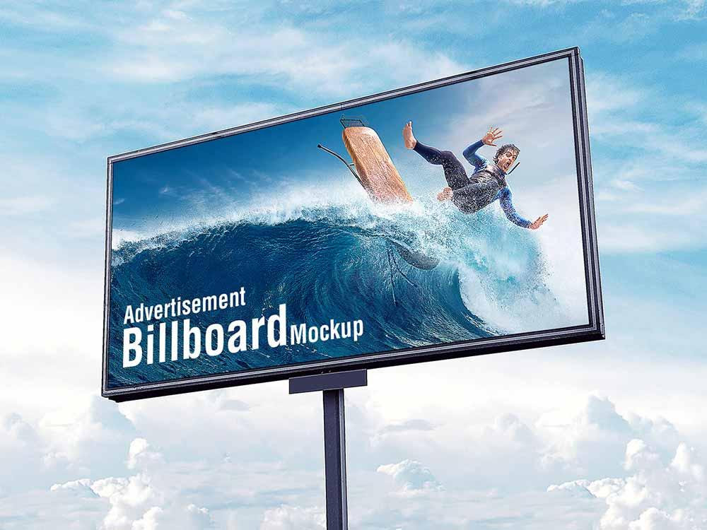 Free Outdoor Sky Billboard Mockup-www.mockuphill.com