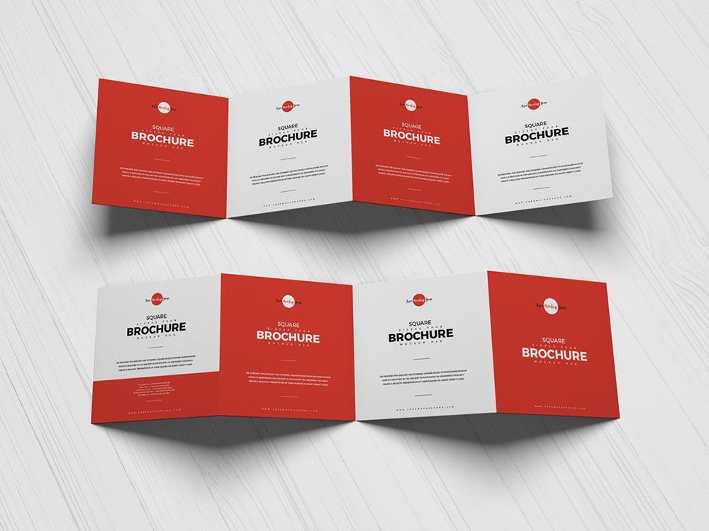 Free Square Zigzag Brochure Mockup