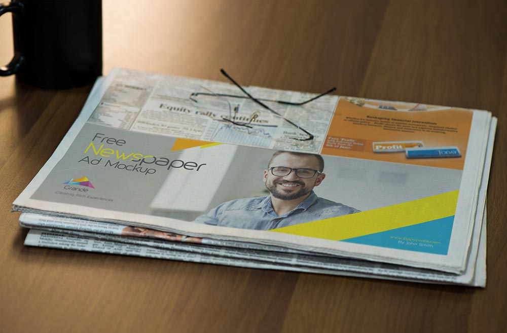 Free Half Folded Newspaper Mockup