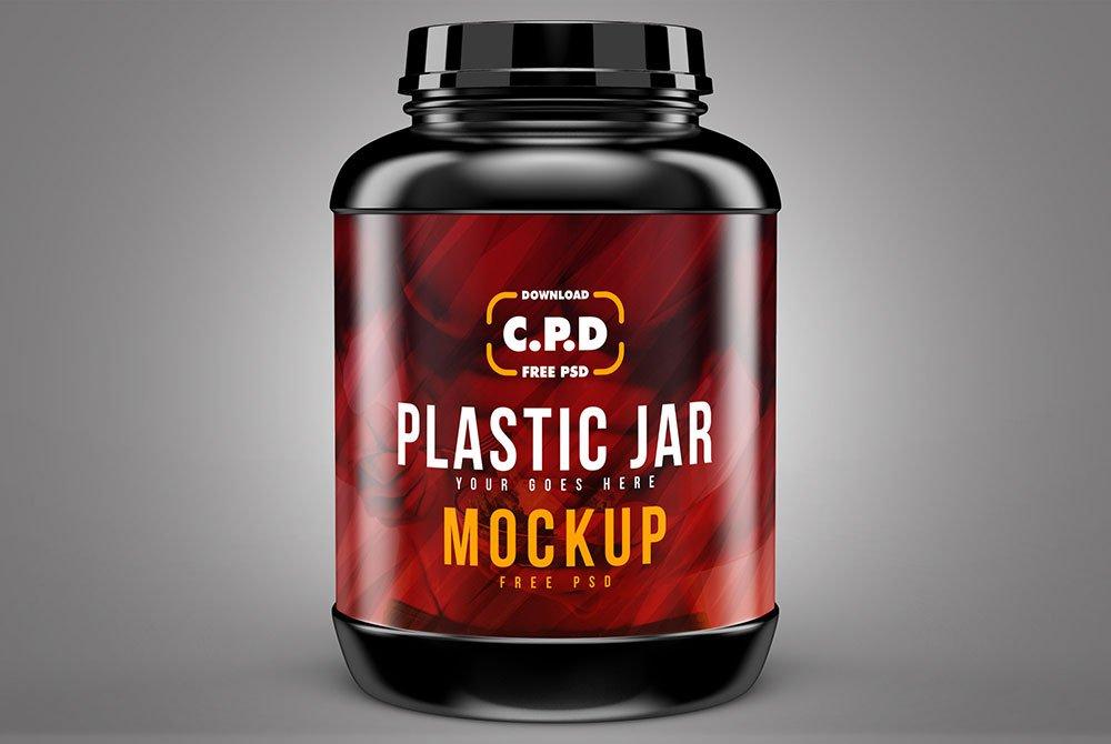 Free Plastic Jar Mockup