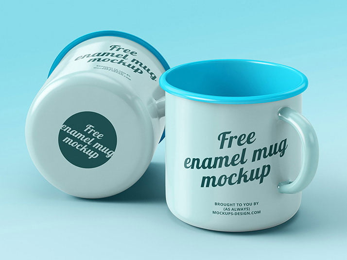 Free Enamel Mugs Mockup