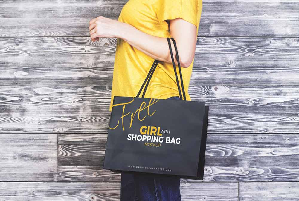 Free Girl Shopping Bag Mockup