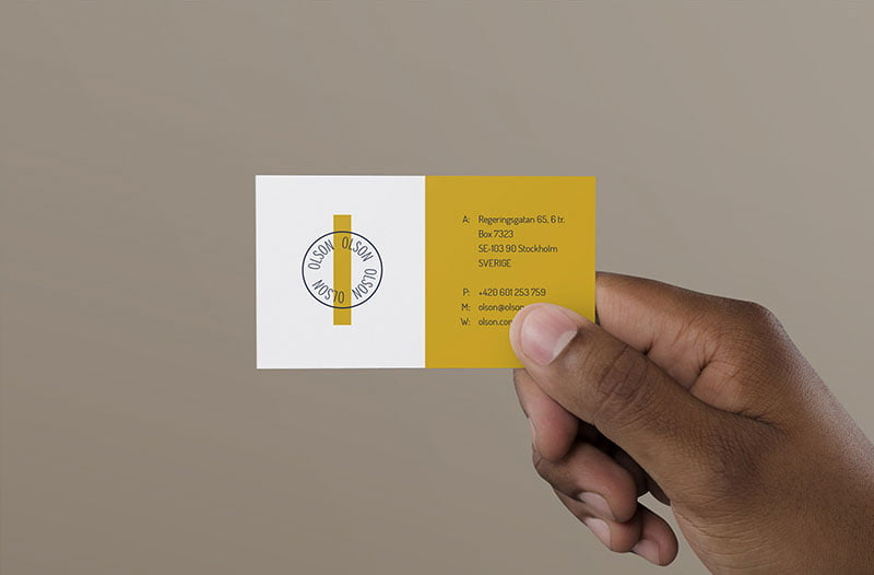 Free Hand Holding Business Card Mockup