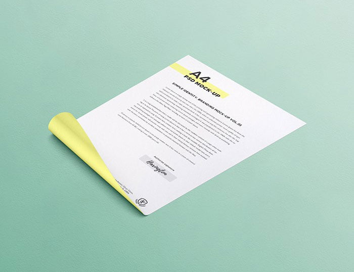 Free Curly A4 Paper Mockup