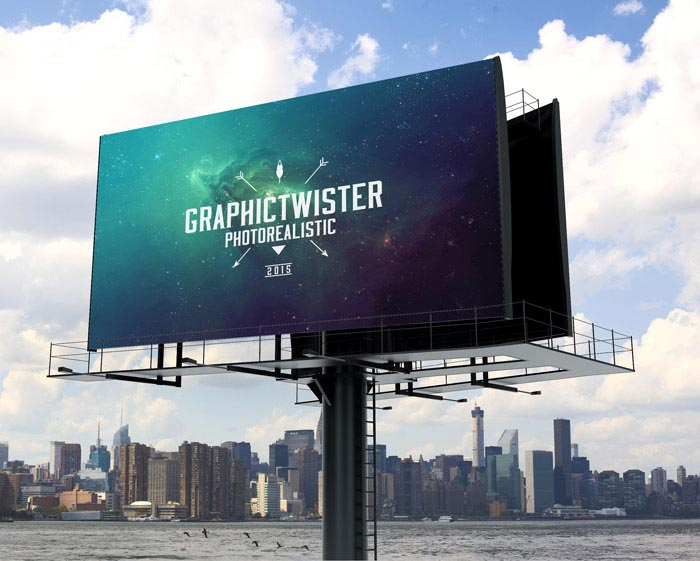 photorealistic billboard mockup with separated background