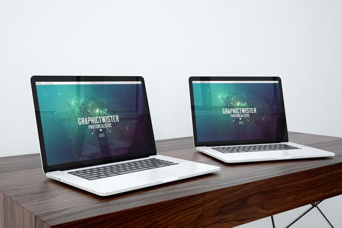 Free Double MacBook Pro Mockup