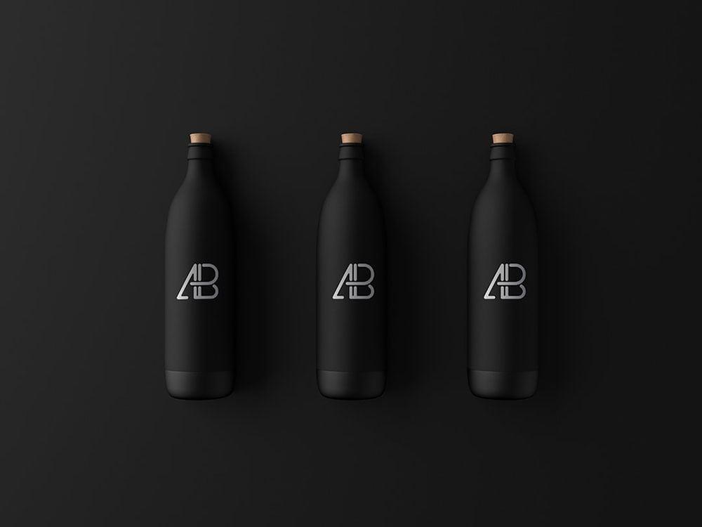 Free Matte Black Bottle Mockup