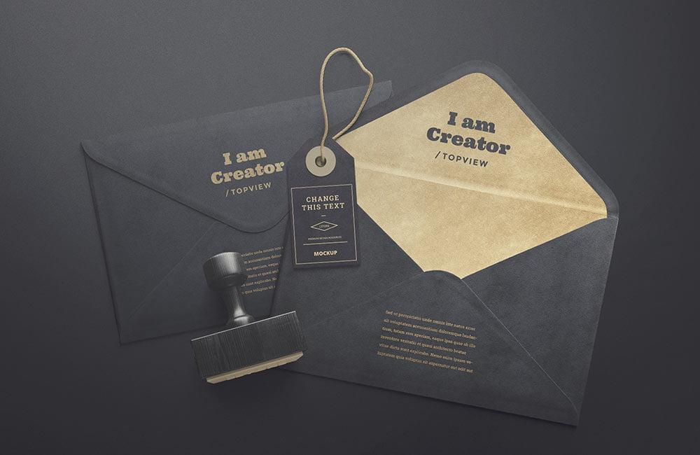 Free Tag & Envelope Mockup