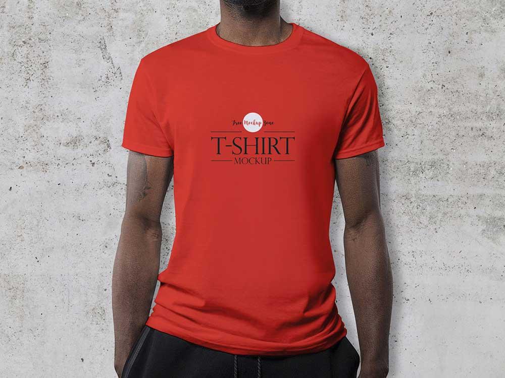 Free Wearing T-Shirt Mockup