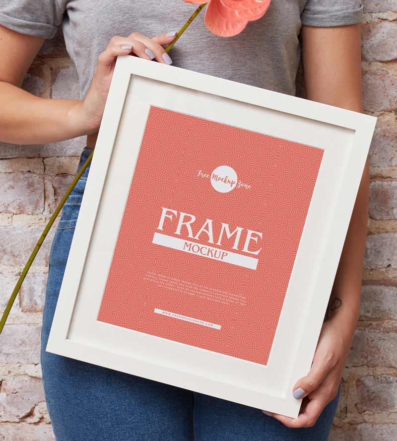 Free Girl Showing Frame Mockup